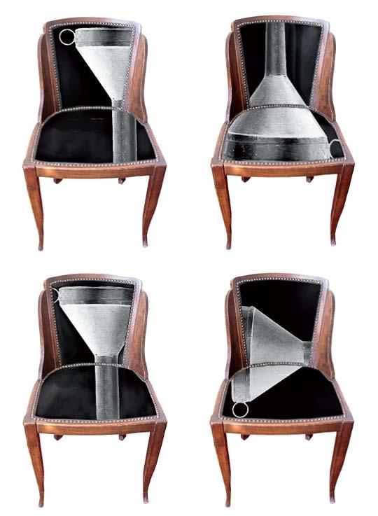 Série de 4 chaises entonnoir